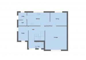 Sinclair house type ground floor plan - 4 bedroom 2 Storey Range - 179m2 floor area