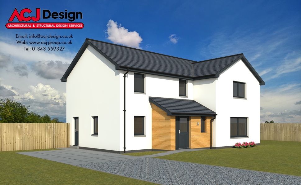 Sinclair house type elevation with ACJ Design Logo - 3D Render Image