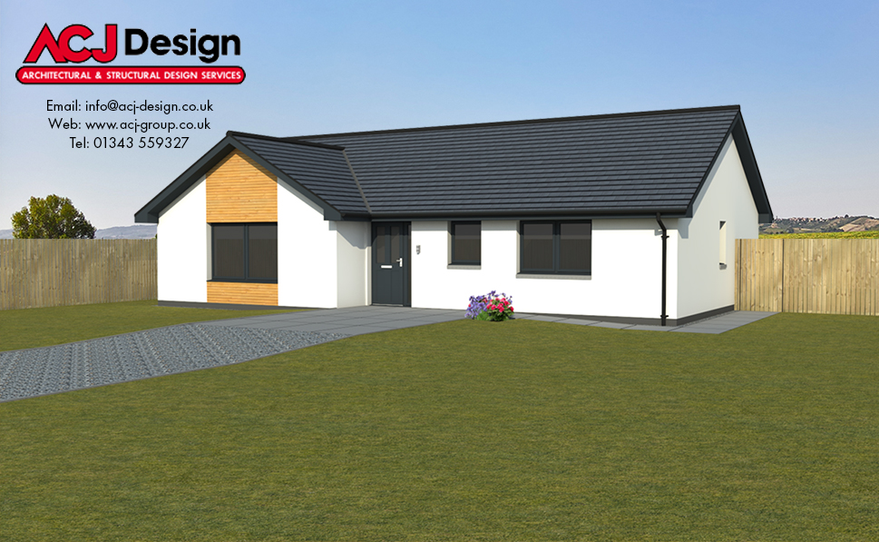 Spence house type elevation with ACJ Design Logo - 3D Render Image