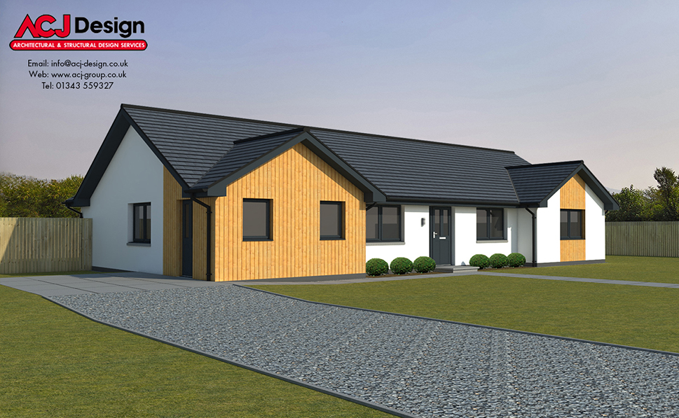 Stewart house type elevation with ACJ Design Logo - 3D Render Image