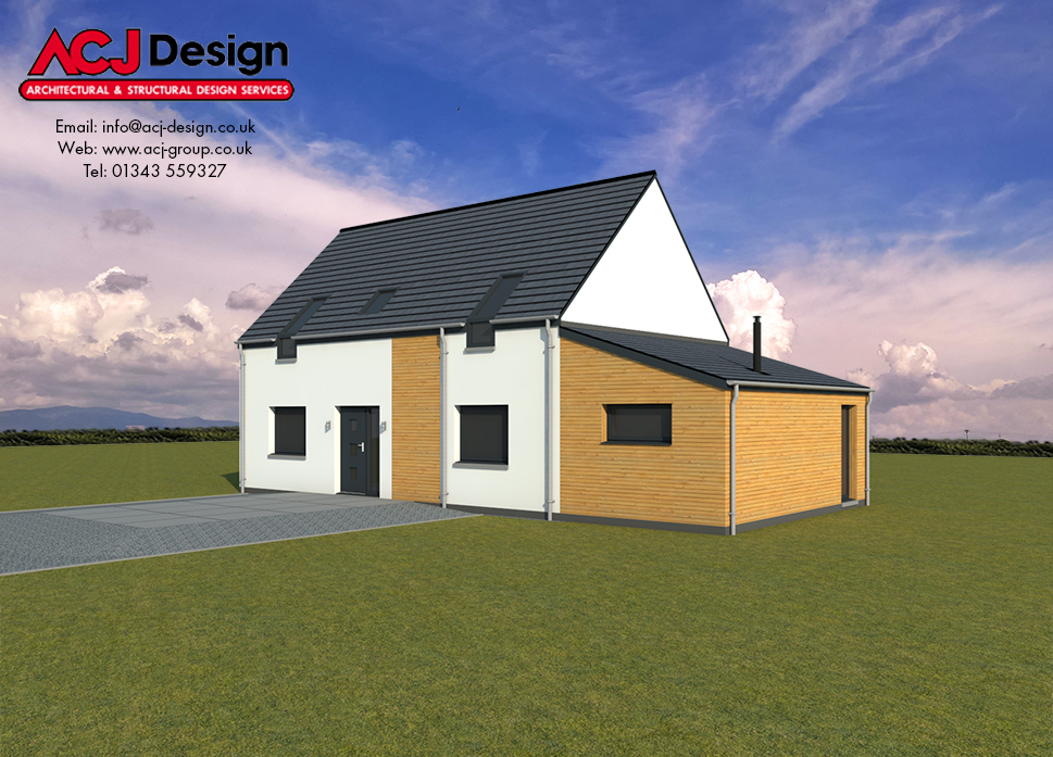 Arran house type elevation with ACJ Design Logo - 3D Render Image