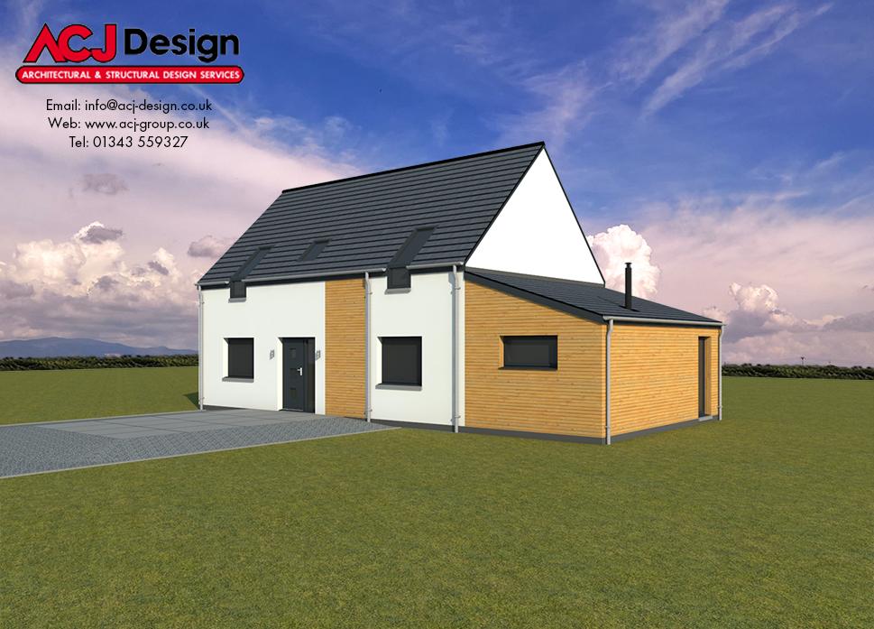 Arran house type elevation with ACJ Design Logo - 3D Render Image