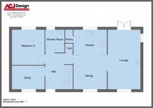 Arran house type ground floor plan with ACJ Design Logo - 3 bedroom Island Range - 136m2 floor area