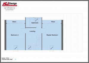 Arran house type first floor plan with ACJ Design Logo - 3 bedroom Island Range - 136m2 floor area