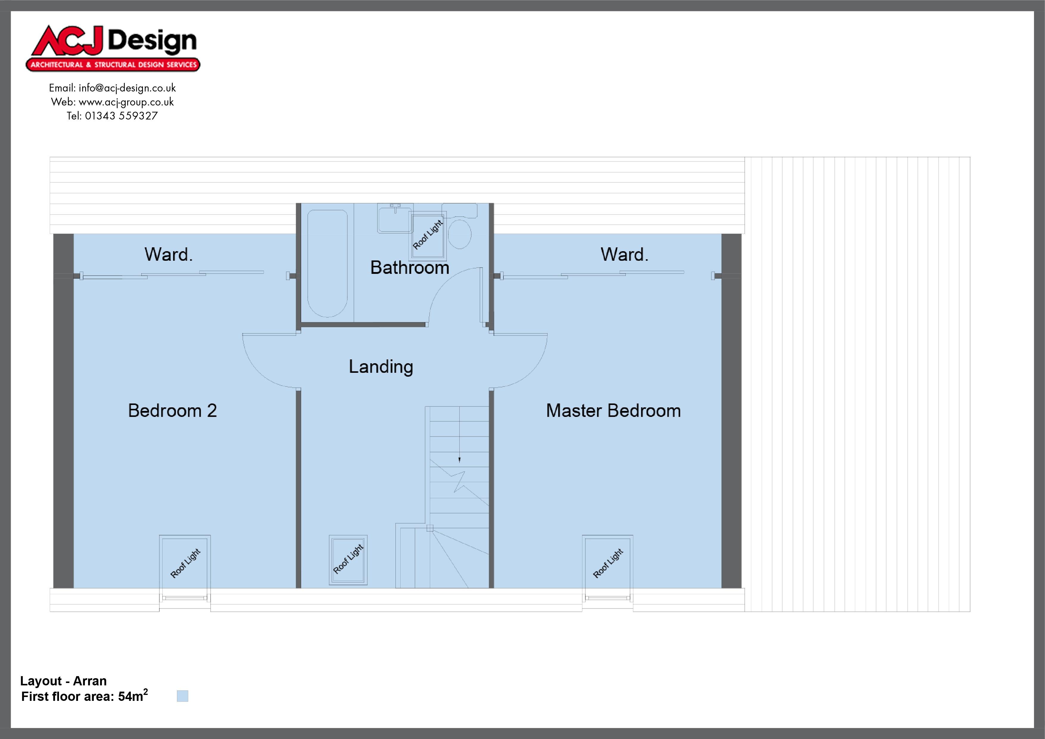 Good Arran House Type First Floor Plan With ACJ Design Logo   3 Bedroom Island  Range