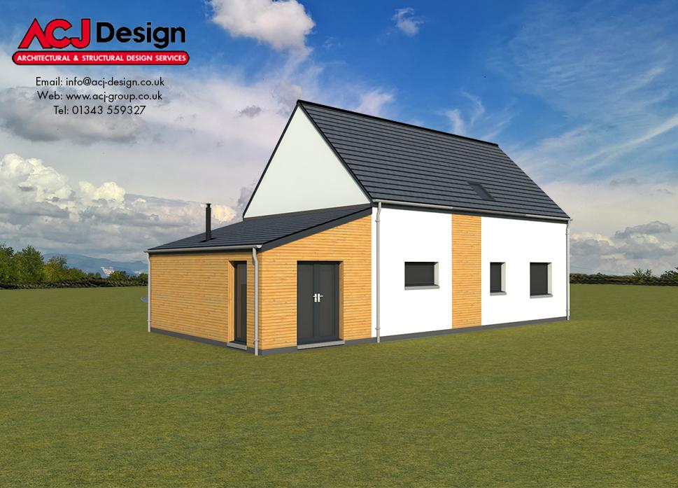 Arran house type elevation with ACJ Design Logo - 3D Render Image rear view
