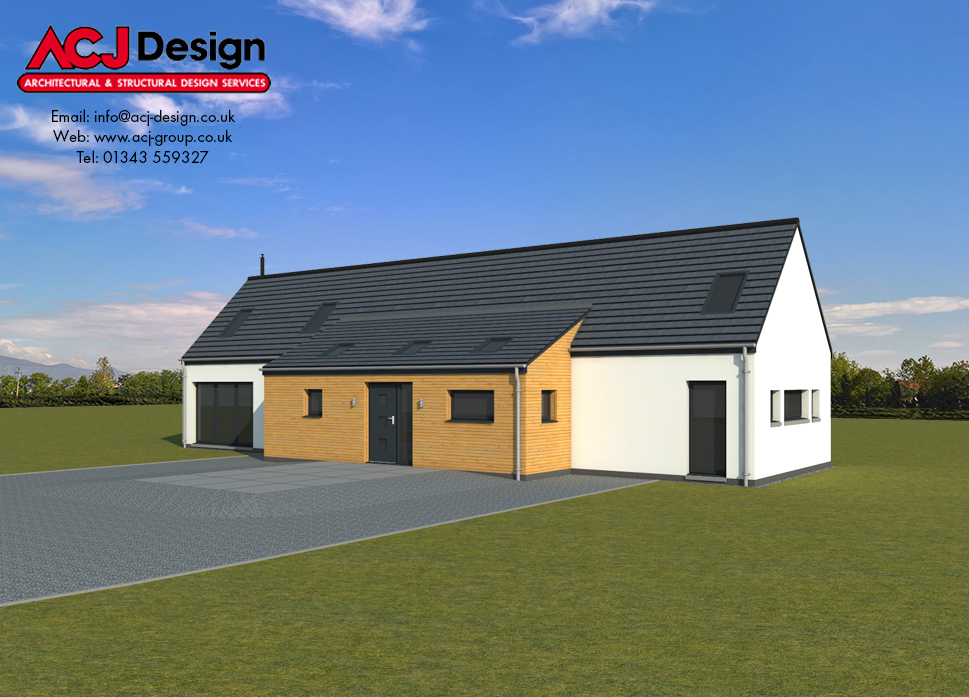 Harris house type elevation with ACJ Design Logo - 3D Render Image