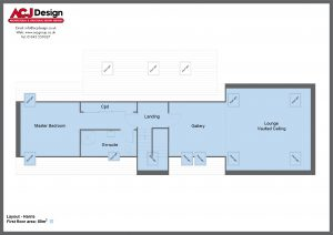 Harris house type first floor plan with ACJ Design Logo - 3 bedroom Island Range - 201m2 floor area