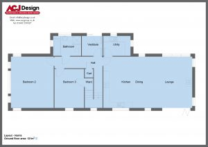 Harris house type ground floor plan with ACJ Design Logo - 3 bedroom Island Range - 201m2 floor area