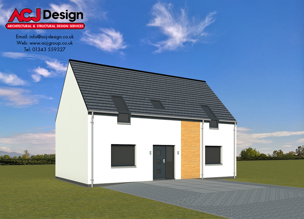 Islay house type elevation with ACJ Design Logo - 3D Render Image