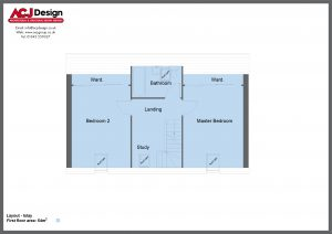 Islay house type first floor plan with ACJ Design Logo - 2 bedroom Island Range - 114m2 floor area