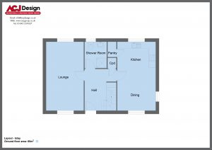 Islay house type ground floor plan with ACJ Design Logo - 2 bedroom Island Range - 114m2 floor area
