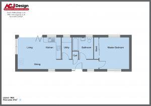 Mull house type ground floor plan with ACJ Design Logo - 1 bedroom Island Range - 57m2 floor area
