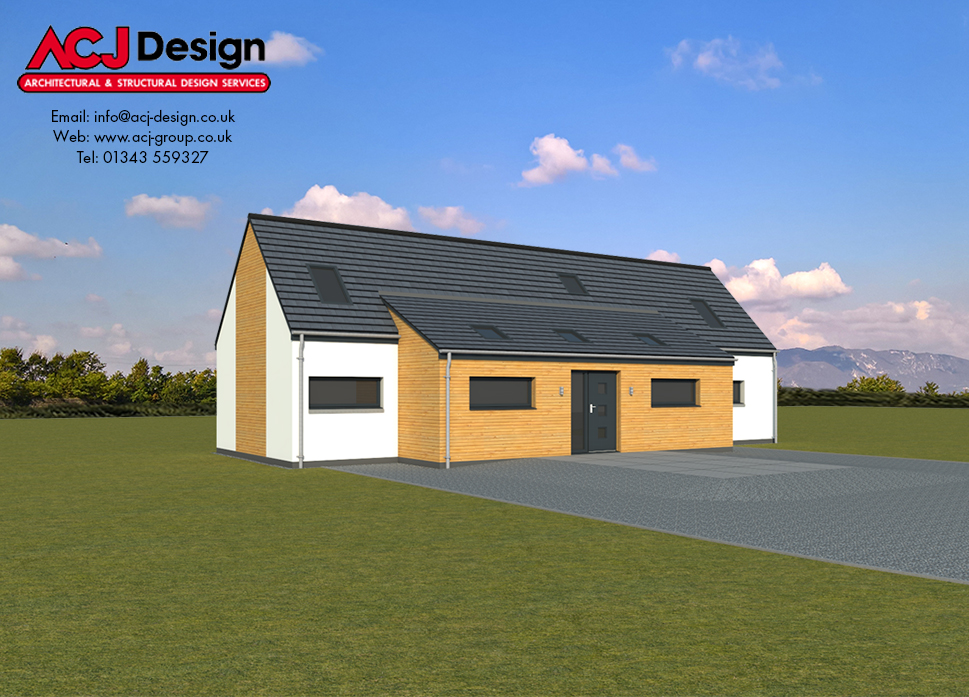 Lewis house type elevation with ACJ Design Logo - 3D Render Image front view