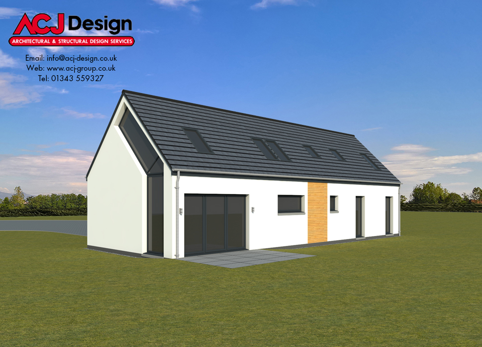 Lewis house type elevation with ACJ Design Logo - 3D Render Image rear view