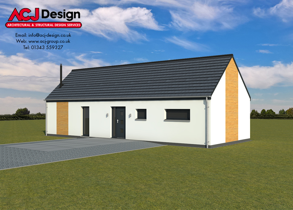 Mull house type elevation with ACJ Design Logo - 3D Render Image