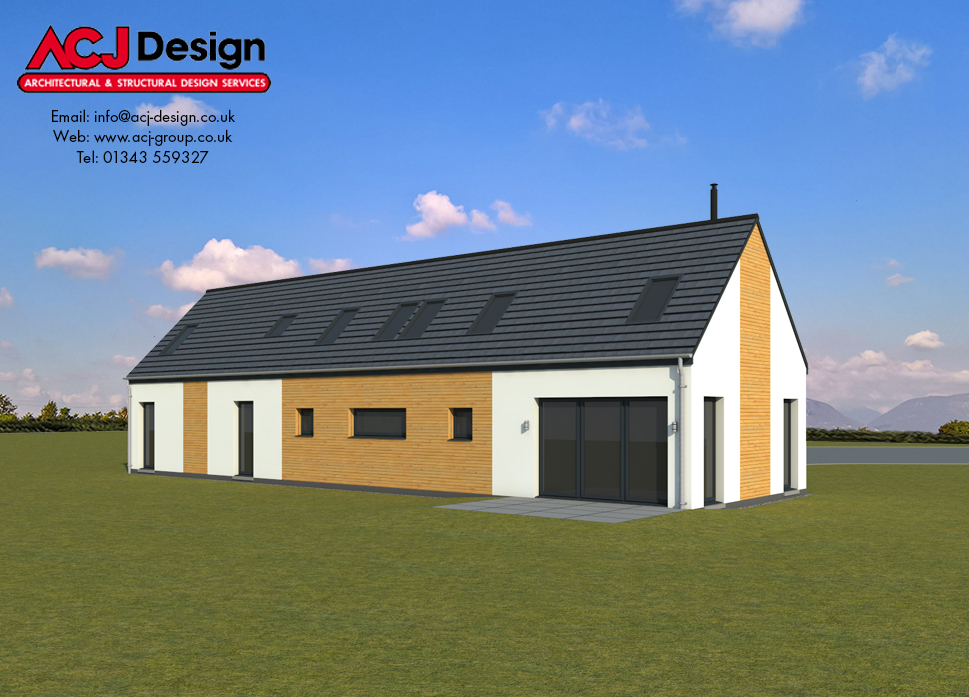 Harris house type elevation with ACJ Design Logo - 3D Render Image rear view